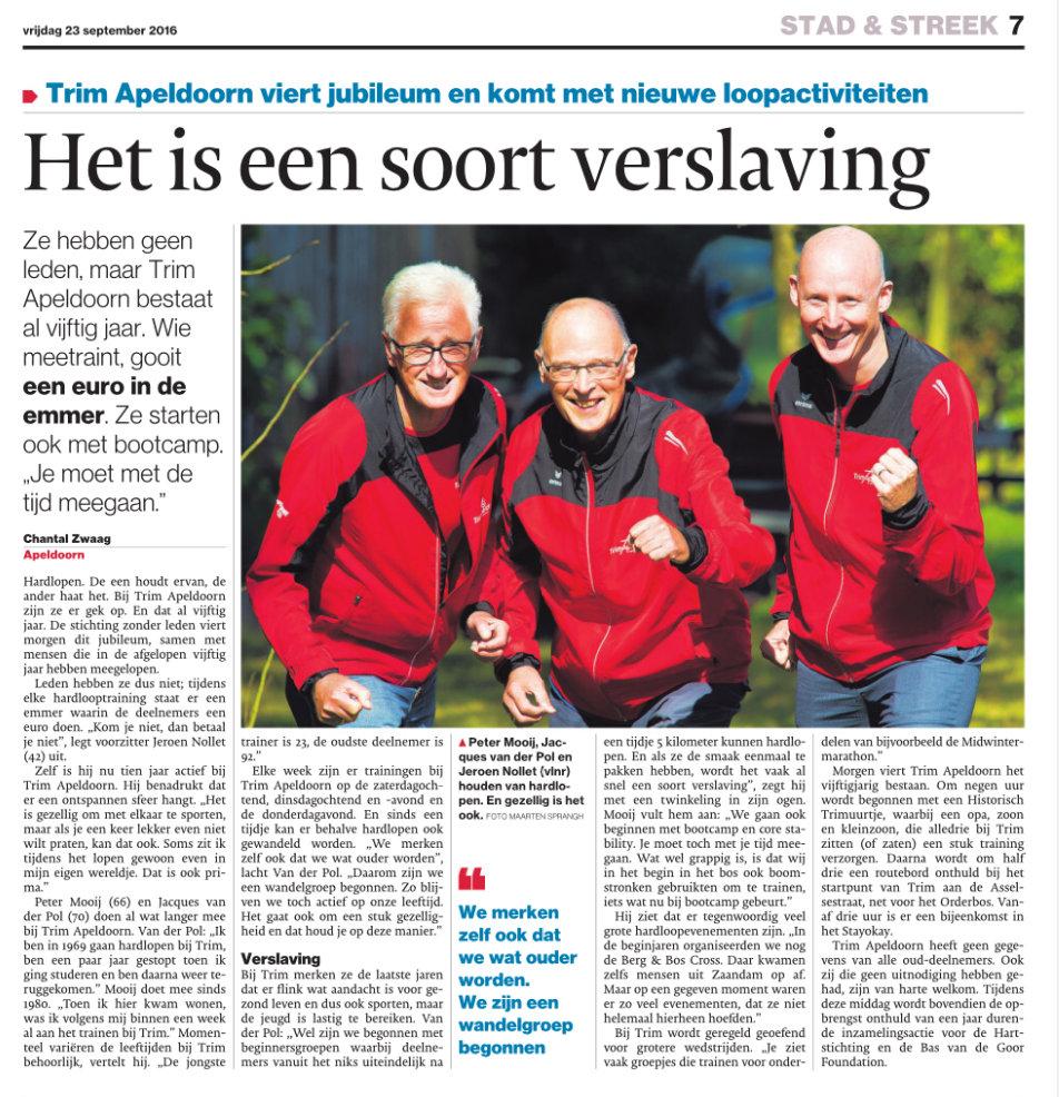 Artikel Trim Apeldoorn 50 jaar in 2016