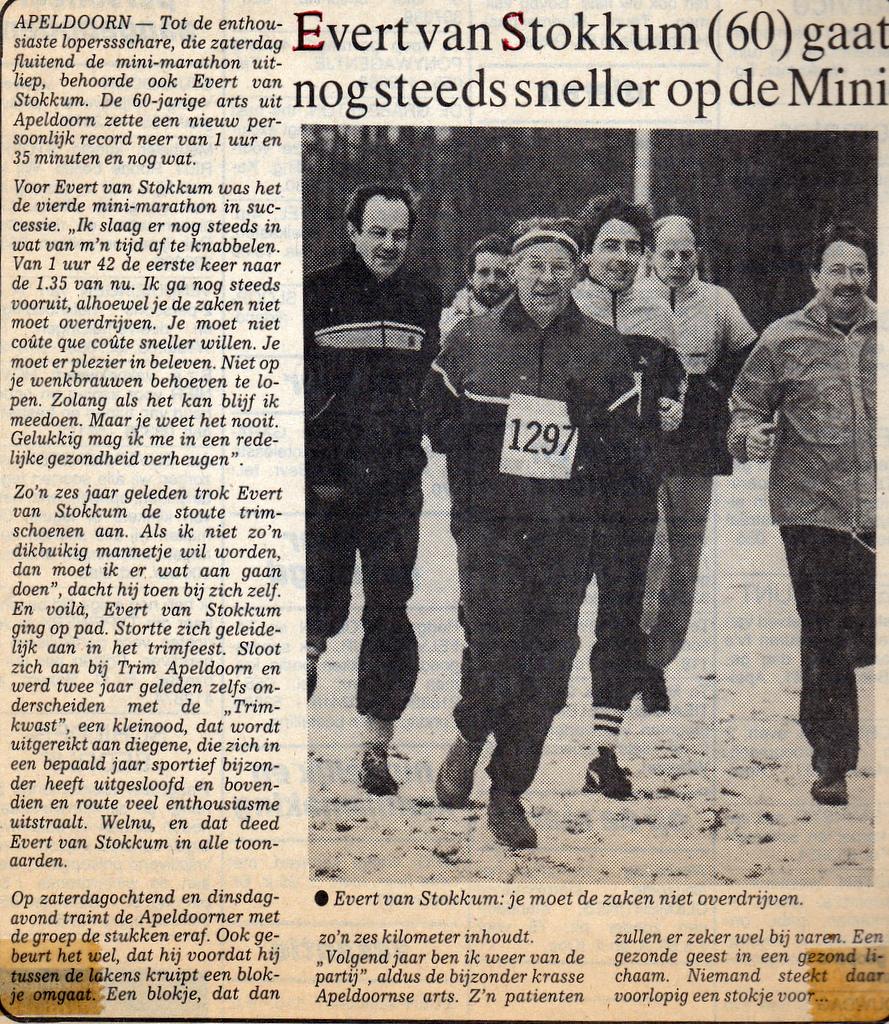 Evert van Stokkum op de Minimarathon 1984