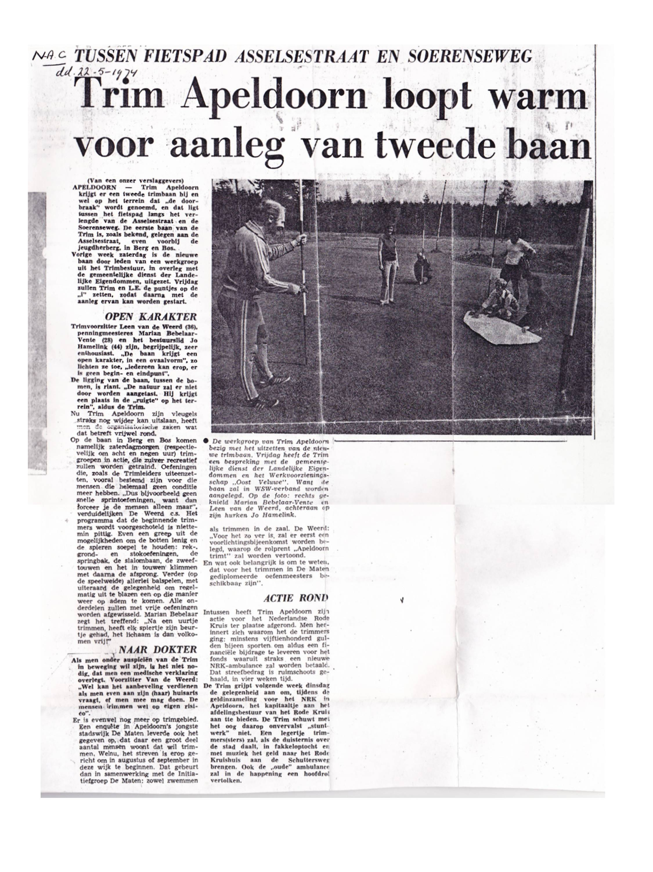 Trimbaan 2 krant 1974