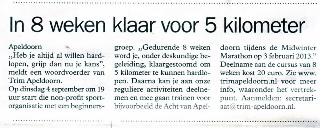 Stadsblad: Oproep Beginnerstraining 2011