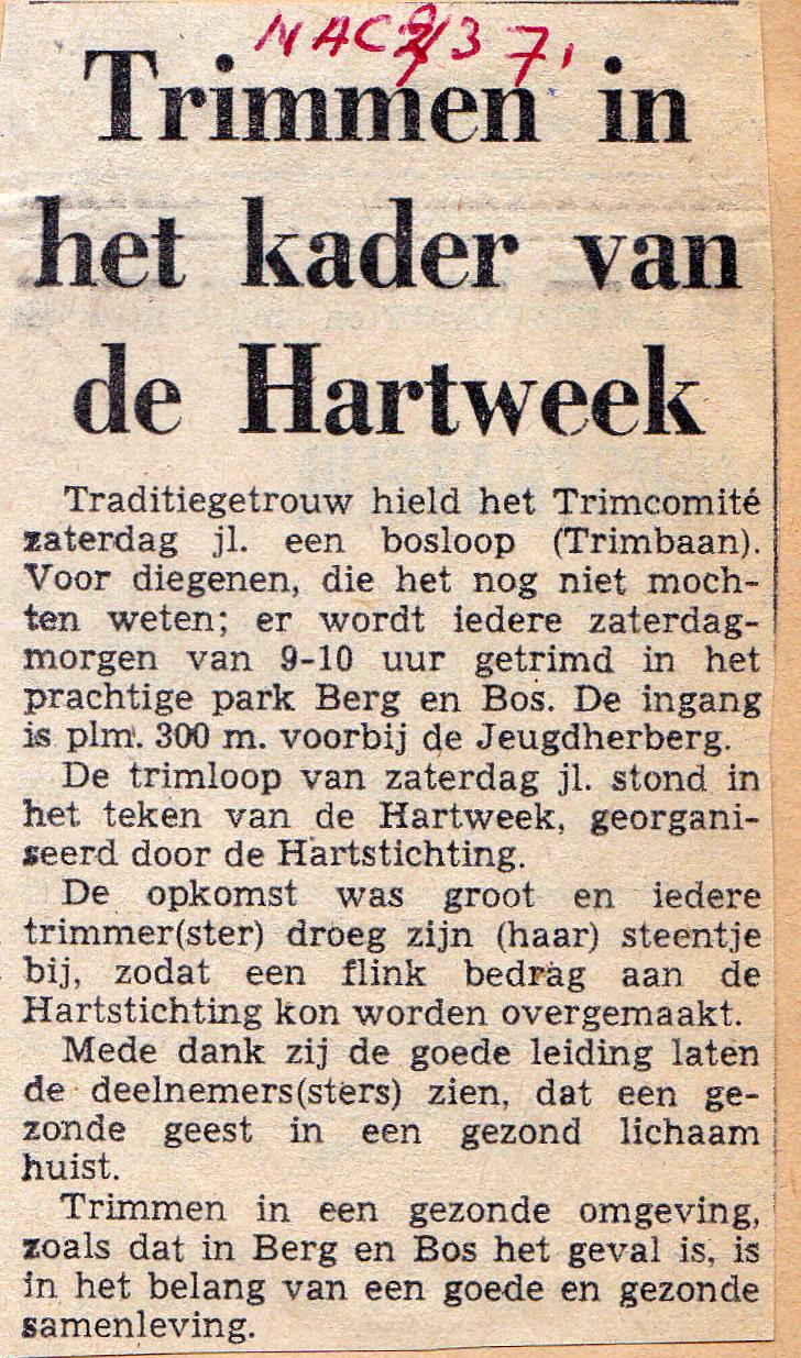 Trimmen voor de Hartstichting in 1971