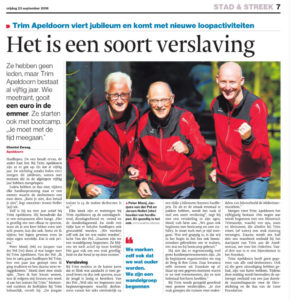 Artikel Stentor 23 september 2016 Trim Apeldoorn 50 jaar